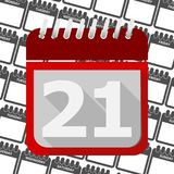 Red Calendar - Vector Icon number 21. Ector icon Stock Photography
