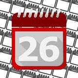 Red Calendar - Vector Icon number 26. Ector icon Royalty Free Stock Photography