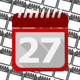 Red Calendar - Vector Icon number 27. Ector icon Royalty Free Stock Image