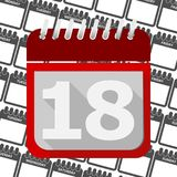 Red Calendar - Vector Icon number 18. Vector icon stock illustration