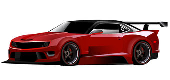 Red camaro sports car. This is a high detailed chevrolet camaro vector illustration of a custom made red camaro Stock Image