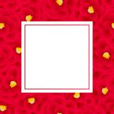 Red Camellia Flower Banner Card. Vector Illustration.  royalty free illustration