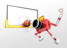 Red Camera Characte playing a dunk shot. Create 3D Camera Robot Royalty Free Stock Photography