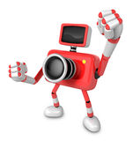 A Red Camera Character and a boxing play. Create 3D Camera Robot Stock Photography