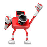 A Red Camera Character and a boxing play. Create 3D Camera Robot Stock Photo