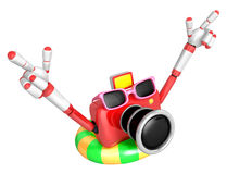 Red Camera Character dip tube ride. Create 3D Camera Robot Serie Stock Image