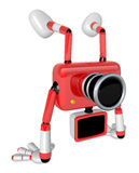 A Red Camera Character on handstanding. Create 3D Camera Robot S Royalty Free Stock Photo