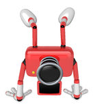 A Red Camera Character on handstanding. Create 3D Camera Robot S Royalty Free Stock Photos