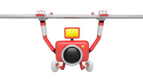 Red Camera character is hanging in horizontal bar. Create 3D Cam Royalty Free Stock Image