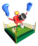 Red camera character jump in green ring. Create 3D Camera Robot Stock Image