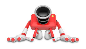 Red Camera Character kneel in prayer. Create 3D Camera Robot Ser Stock Image