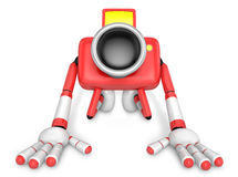 Red Camera Character kneel in prayer. Create 3D Camera Robot Ser Royalty Free Stock Photos