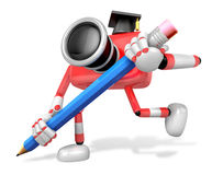 Red Camera Character pencil a handwriting. Create 3D Camera Robo Stock Image