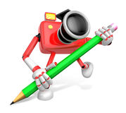 Red Camera Character pencil a handwriting. Create 3D Camera Robo Stock Photos