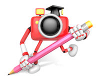 Red Camera Character pencil a handwriting. Create 3D Camera Robo Stock Photography