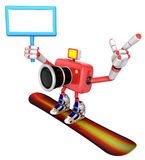 Red Camera Character snowboard a riding. Create 3D Camera Robot Stock Images