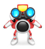 Red camera Character telescopes looking towards the front. Creat Stock Images