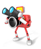 Red camera Character telescopes looking towards the left. Create Stock Image