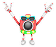 Red Camera Character on their Vacation journey. Create 3D Camera Royalty Free Stock Images