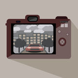 Red Camera. With an old photograph Royalty Free Stock Photography
