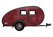 Red Camper. 3D digital render of an old red camper isolated on white background stock illustration