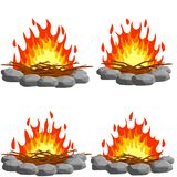 Red campfire. Four Orange flame. royalty free stock photos