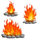 Red campfire. Three Orange flame. royalty free stock photography