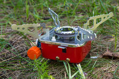 Red camping gas burner. Stock Image