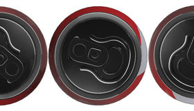 Red can of soda, view from the top on black background, 3d render Royalty Free Stock Photography