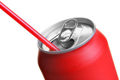 Red can with straw Royalty Free Stock Photos