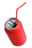 Red can with straw Stock Images