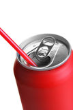 Red can with straw Royalty Free Stock Images