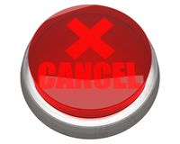 Red CANCEL button isolated Royalty Free Stock Photos