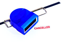 Red cancelled stamp on white paper with rubber stamper and clipbiard Royalty Free Stock Photos