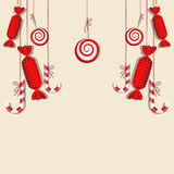 Red candies. Vector picture with different red candies Royalty Free Stock Photos