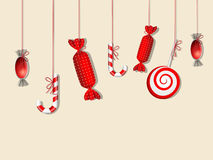 Red candies. Vector picture with different red candies Stock Photos