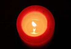 Red candle 02. Red candle with black background (view from top Royalty Free Stock Photo