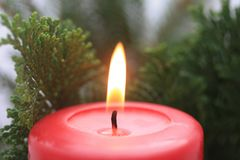 Red candle. Close up of a red candle and some christmas tree green Royalty Free Stock Photos