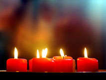 Red Candle. Red romantic candles Stock Photo