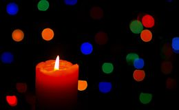 Red Candle. And  the nice color fires Royalty Free Stock Images