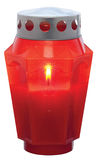 Red candle. With flame for grave Stock Photography