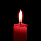 Red candle. Illustration of red burning candle on black background Royalty Free Stock Photos