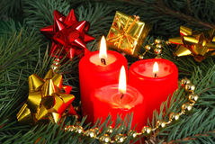 Red candle. And christmas decorations Stock Photography