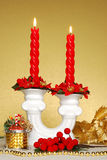 Red candle. And christmas decorations Stock Photos