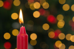Red candle burning brightly Stock Photography