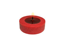 Red candle burning on white background Royalty Free Stock Photos