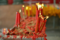 Red candle. In Chinese style on the pot in the Chinese temple, Thialand Stock Images