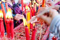 Red Candle at chinese temple Stock Images