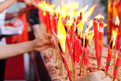 Red Candle at chinese temple Royalty Free Stock Image