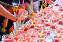 Red Candle at chinese temple Royalty Free Stock Images